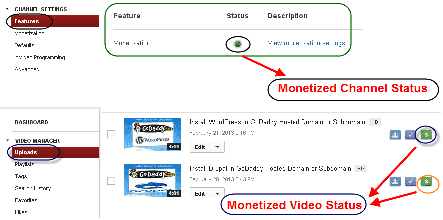 monetized video status