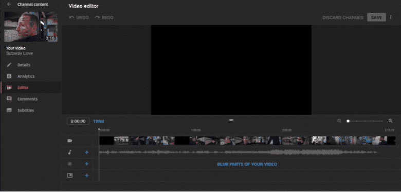YouTube video editor workspace